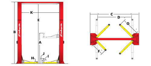 two post vehicle lift challenger 15000 15 000 lbs capacity two rh garageautoequipment com Hydraulic Jack Schematic Car Door Diagram